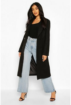 Double Breasted Maxi Wool Look Coat, Black