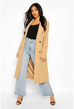 Double Breasted Maxi Wool Look Coat, Camel