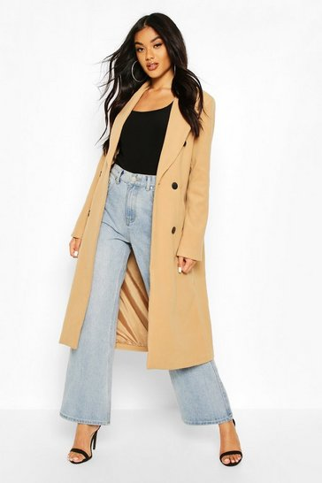 Camel Double Breasted Maxi Wool Look Coat