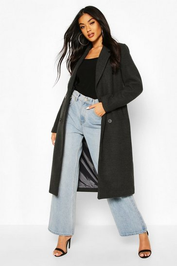 Charcoal Double Breasted Maxi Wool Look Coat