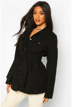 Utility Pocket Self Fabric Belt Wool Look Coat, Black