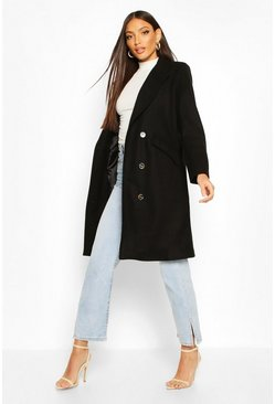 Tailored Double Breasted Wool Look Coat, Black