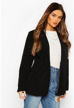 Black Luxe Brushed Wool Look Oversized Blazer Coat
