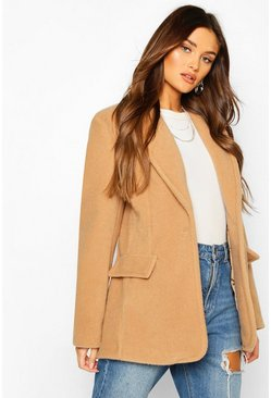 Camel Luxe Brushed Wool Look Oversized Blazer Coat