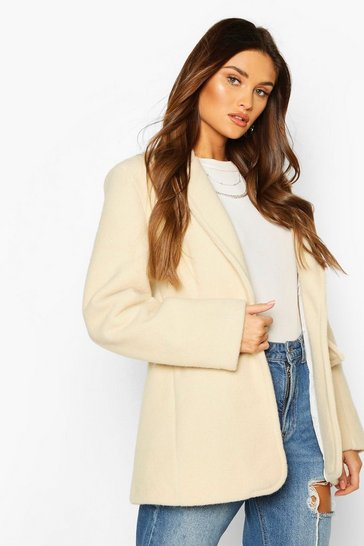 Ivory Luxe Brushed Wool Look Oversized Blazer Coat