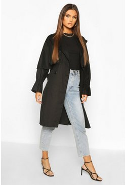 Black Ruched Sleeve Belted Trench Coat