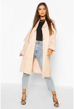 Blush Ruched Sleeve Belted Trench Coat
