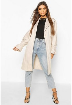 Stone Ruched Sleeve Belted Trench Coat