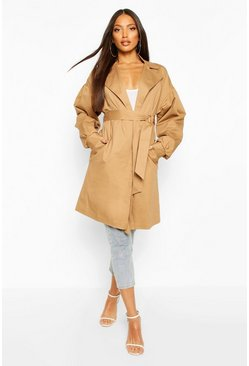 Camel Extreme Sleeve Trench Coat