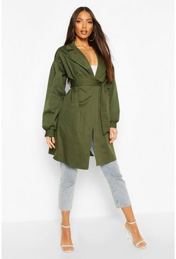 Extreme Sleeve Trench Coat, Khaki
