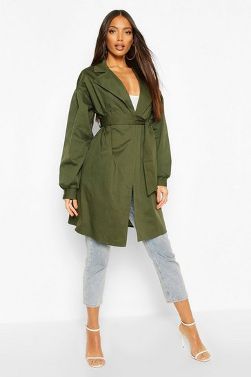 Khaki Extreme Sleeve Trench Coat