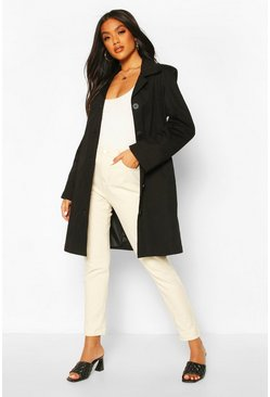 Black Button Through Mac Trench Coat