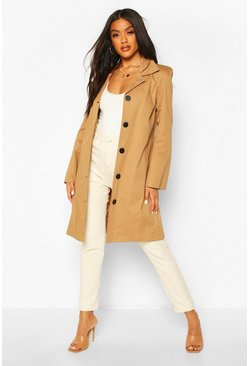 Camel Button Through Mac Trench Coat
