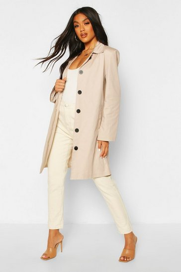Stone Button Through Mac Trench Coat