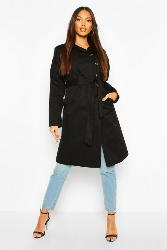 Black Button Detail Mac Trench Coat