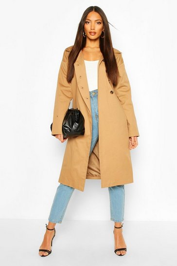 Camel Button Detail Mac Trench Coat