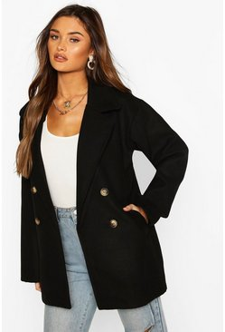 Double Breasted Wool Look Coat, Black