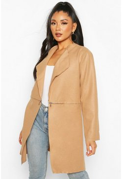 Camel Zip Detail Wool Look Coat