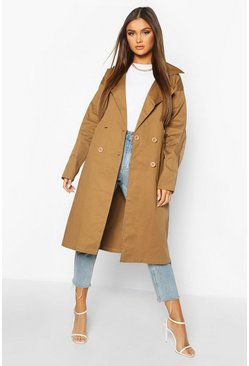 Camel Double Breasted Trench Coat