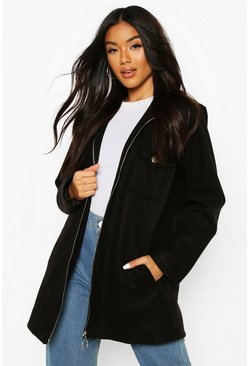 Black Utility O Ring Wool Look Shirt Jacket
