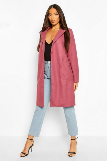 Mauve Maxi Wool Look Coat