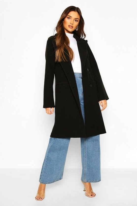 Black Double Breasted Wool Look Coat