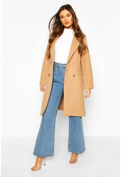 Camel Double Breasted Wool Look Coat