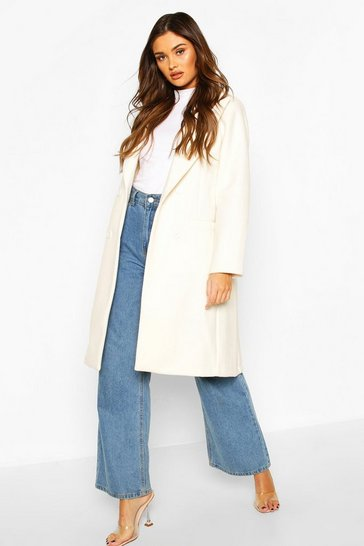 Ivory Double Breasted Wool Look Coat