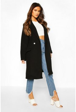 Black Tailored Wool Look Coat
