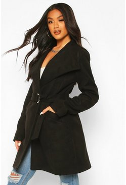 Black Wide Collar D-Ring Belt Wool Look Coat