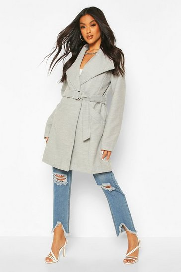 Grey Wide Collar D-Ring Belt Wool Look Coat