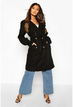 Black Belted Wool Look Double Breasted Trench Coat