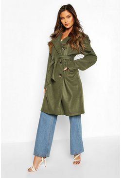 Khaki Belted Wool Look Double Breasted Trench Coat