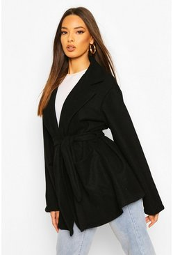Black Oversized Slouchy Wool Look Belted Coat
