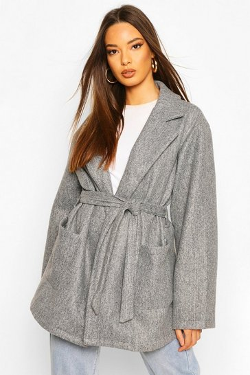 Grey Oversized Slouchy Wool Look Belted Coat
