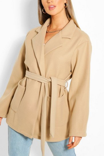 Stone Oversized Slouchy Wool Look Belted Coat