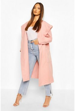 Blush Extreme Oversized Hooded Wool Look Coat