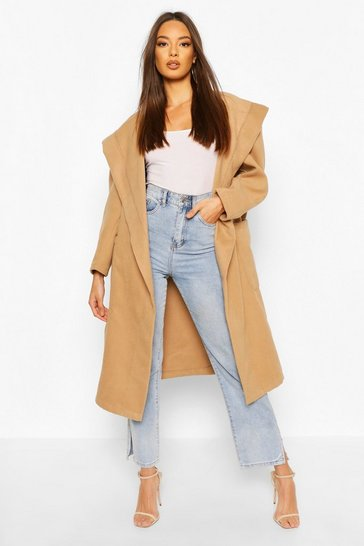 Camel Extreme Oversized Hooded Wool Look Coat