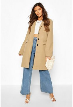 Camel Tailored Wool Look Coat