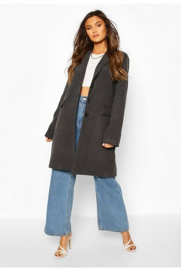 Charcoal Tailored Wool Look Coat