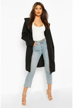 Black Wide Collar Belted Wool Look Coat