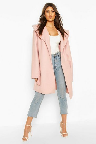 Blush Wide Collar Belted Wool Look Coat