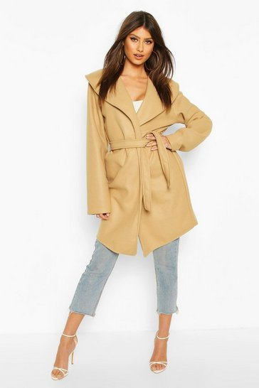 Camel Wide Collar Belted Wool Look Coat