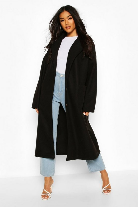 Black Oversized Button Through Wool Look Coat