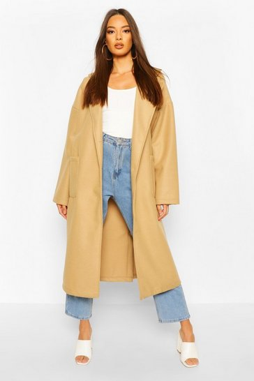 Camel Oversized Button Through Wool Look Coat