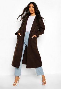 Chocolate Oversized Button Through Wool Look Coat