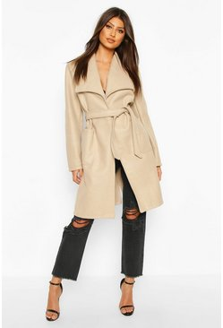 Stone Wide Collar Belted Wool Look Coat
