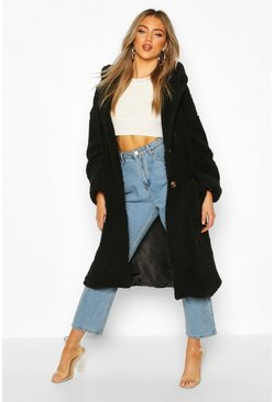 Teddy Faux Fur Hooded Coat, Black