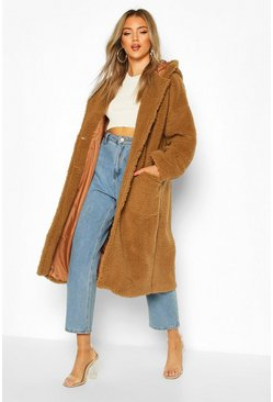 Teddy Faux Fur Hooded Coat, Camel