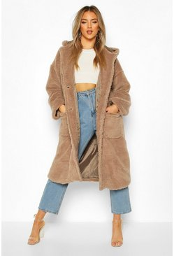 Mocha Teddy Faux Fur Hooded Coat